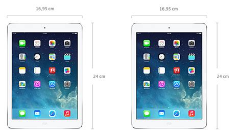 afmetingen ipad air 1 vs