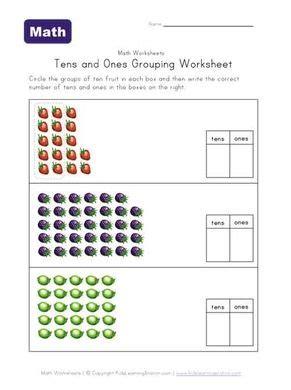 tens  grouping fruit worksheet st grade tens