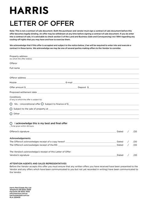 property letter  offer sample templates