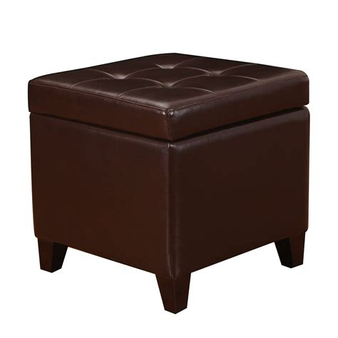 square leather pouf ottoman adeco brown bonded leather square tufted storage ottoman