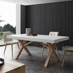 Table A Manger Blanche : table extensible de salle manger blanche en bois massif rico ~ Preciouscoupons.com Idées de Décoration