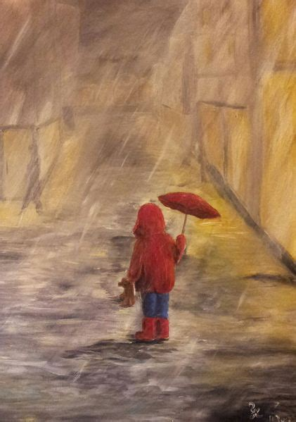allein im regen kind acrylmalerei regen malerei von