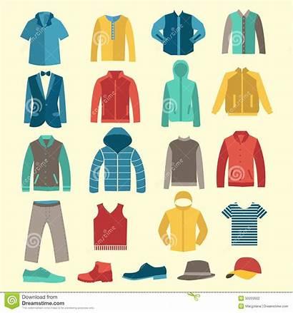 Vestiti Clothes Flat Icons Accessori Degli Male