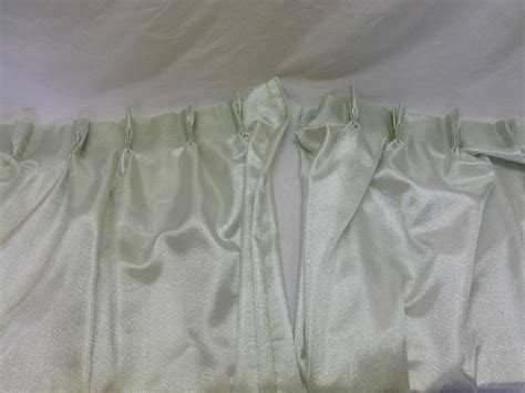Vtg Pinch Pleat Curtains Drapes Shiny Metallic Silver Mint Green Fabric 84