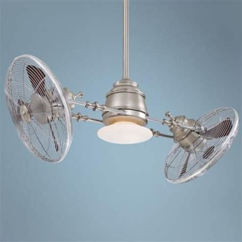 Gyro Ceiling Fans With Lights minka aire vintage gyro brushed nickel chrome ceiling fan