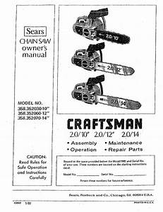 Craftsman 358352030 User Manual Chain Saw Manuals And