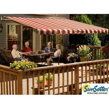 manual retractable awning  woven acrylic fabric