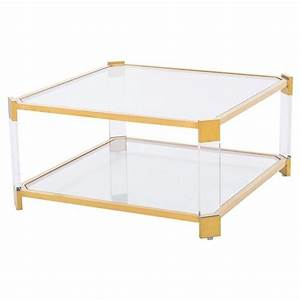 warren acrylic gold angle square coffee table kathy kuo home With acrylic and gold coffee table