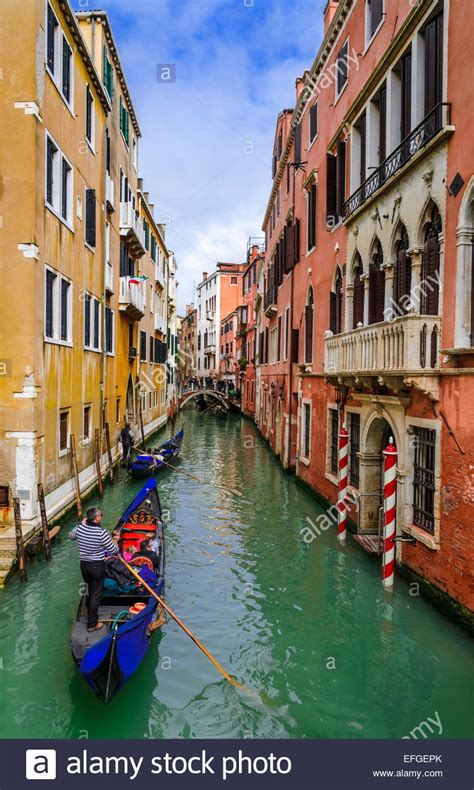 Venice, Italy Image With Tourists And Gondola On Small