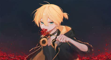 Blonde Blue Eyes Vocaloid Kagamine Len Anime Anime