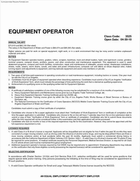 Heavy Equipment Operator Resume by Heavy Equipment Operator Resume Latter Exle Template