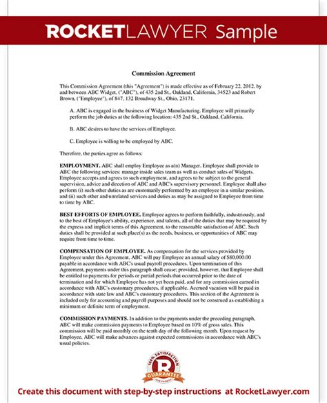 Sales Commission Letter Template by Sales Commission Agreement Template Form With Sle