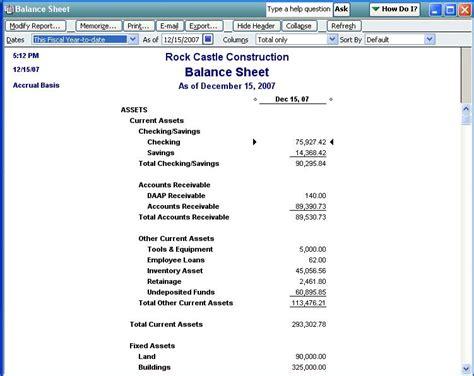qodbc desktop how to run a balance sheet standard report