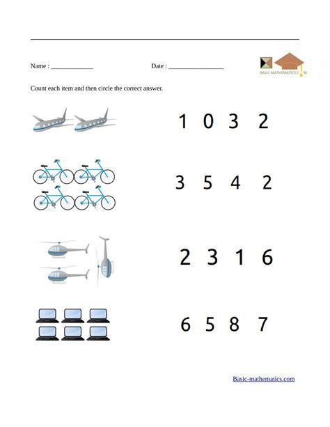 preschool math worksheets 265 | count each item