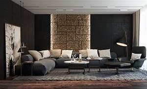 Moderne Wohnzimmer Wandgestaltung : schwarze w nde 48 wohnideen f r moderne raumgestaltung ~ Michelbontemps.com Haus und Dekorationen