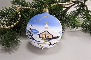 Weihnachtskugeln Glas Lauscha : 4 weihnachtskugeln 8 cm winterlandschaft hellblau aus lauscha ~ A.2002-acura-tl-radio.info Haus und Dekorationen