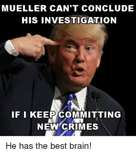 Mueller Memes - mueller can t conclude his investigation if i keep committing new crimes politics meme on sizzle