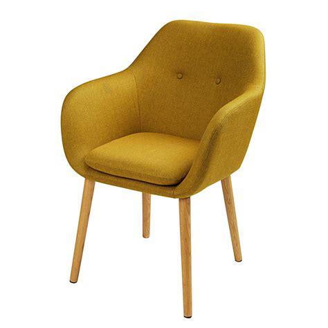 fauteuil en tissu jaune moutarde arnold maisons du monde