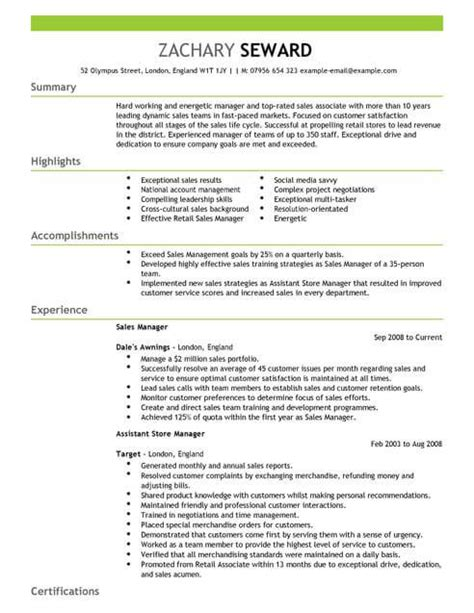 Great Cv Sles by Sales Manager Cv Template Cv Sles Exles