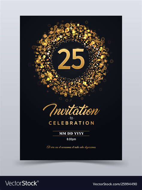 25 Years Anniversary Invitation Card Template intended for