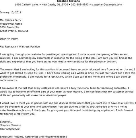 Food Server Resume Cover Letter by Restaurant Server Cover Letter Professional Cover Letter