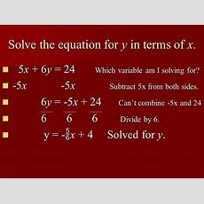 Solving For One Variable In Terms Of Another Variable  Ppt Video Online Download