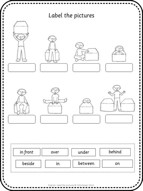 esl label the pictures prepositions esl