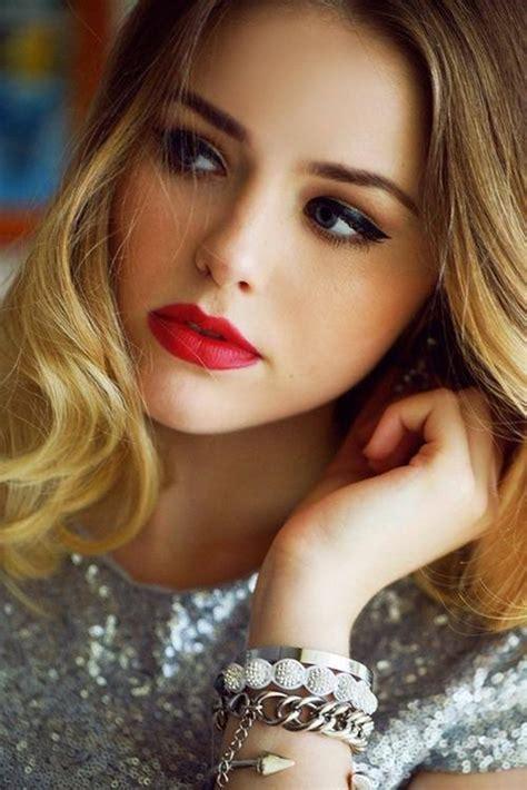 bold makeup red lips  cat eyes fashionsycom