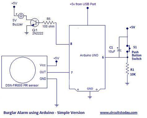 burglar alarm circuit and projects diy