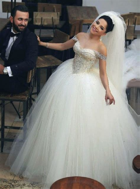 Ball Gown Tulle Off The Shoulder Wedding Dresses Puffy