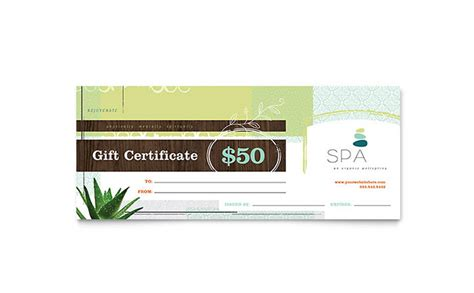 day spa gift certificate template word publisher