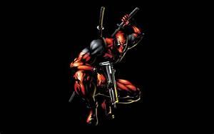Deadpool Marvel Comics Gun Ninja Heroes Black Background