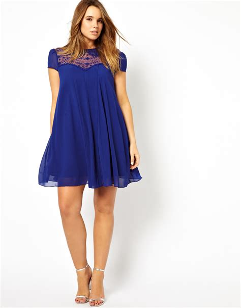 asos curve swing dress lyst asos asos curve exclusive swing dress with lace