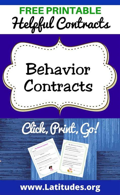 printable behavior contracts  kids acn latitudes