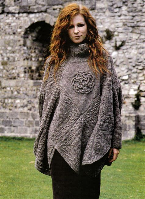 knitting pattern 9104 s poncho with sleeves celtic knot icord design dk ebay