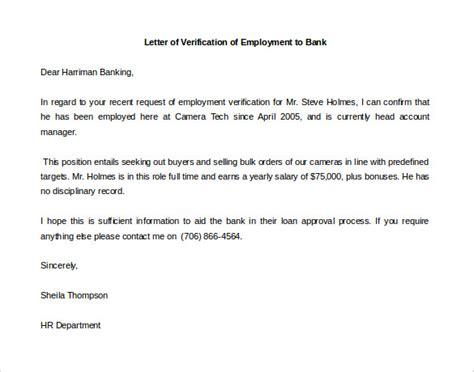 letter  employment verification template