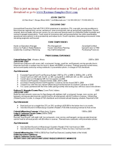 resume sle for junior sous chef sous chef resume cover letter executive chef resume template