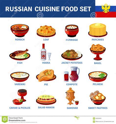 cuisine russe dessert la cuisine russe bombe la collection plate d 39 icônes illustration de vecteur image 68305903
