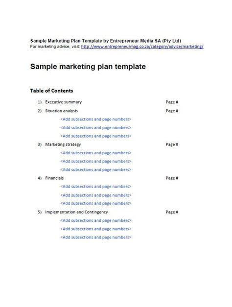 professional marketing plan templates