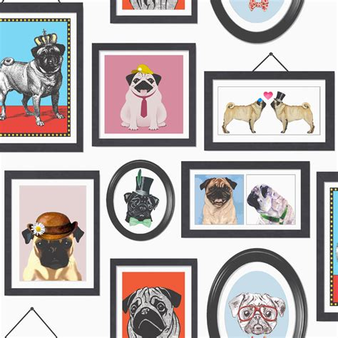 pugs life multi coloured wallpaper