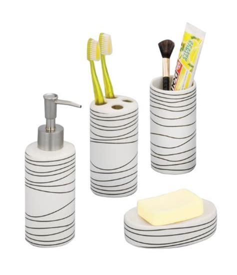 zeller 18250 set de 4 accessoires pour salle de bain en c 233 ramique blanc bricolage pas cher