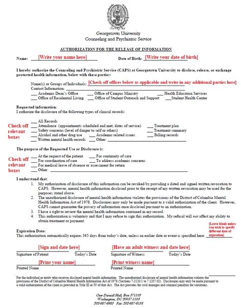 release of mental health records form instructions for authorization for release of information