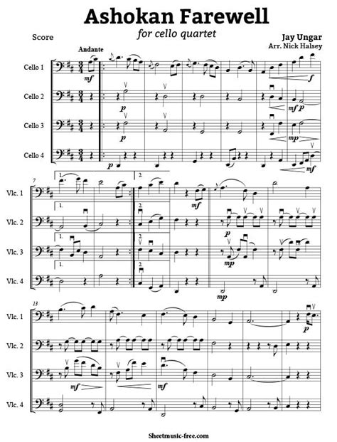 sheet free pdf piano ashokan farewell
