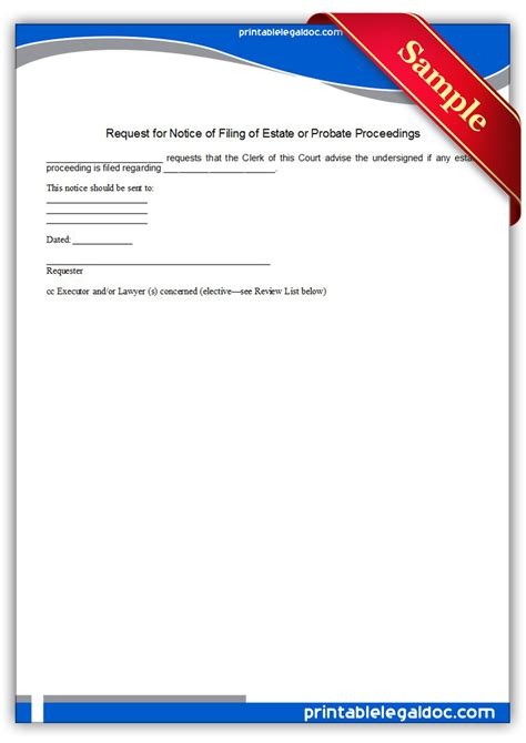 free printable executor of estate form free printable request for notice of filing of estate or