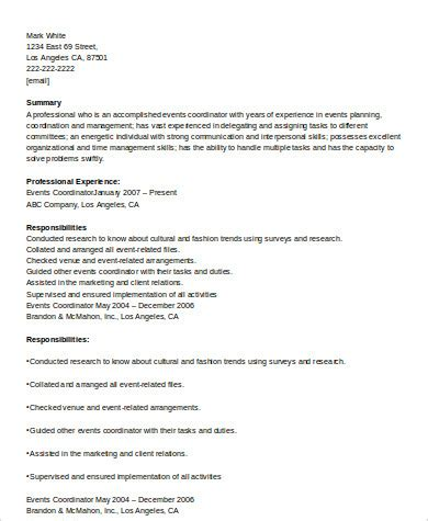 Event Coordinator Resume by 8 Sle Event Coordinator Resumes In Word Pdf