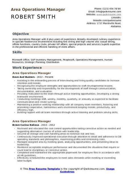 area operations manager resume samples qwikresume
