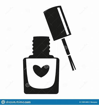 Nail Polish Silhouette Hand Bottle Manicure Vector