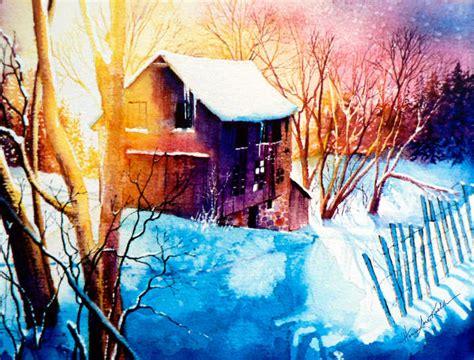 winter barn sunset landscape painting