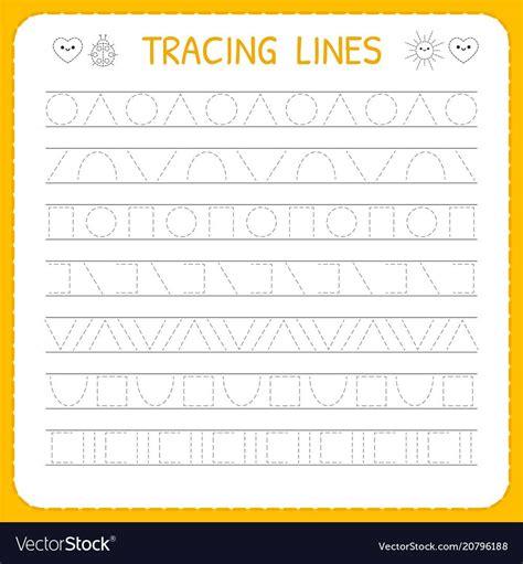 basic writing trace  worksheet  kids vector image