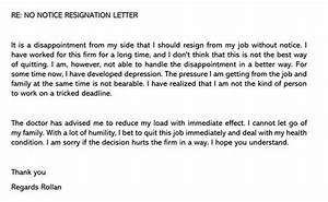 Business Letter Format Word No Notice Resignation Sample Letter Email Example